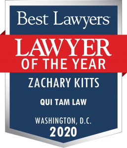 Zachary Kitts is announced as Qui Tam Lawyer of the year